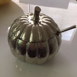 Silver Pumpkin Sugar Bowl