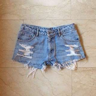 Ripped Light Denim Shorts