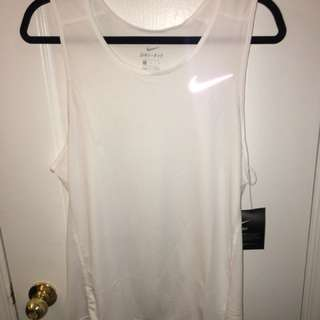Nike White Dri Fit Sleeveless Top
