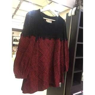 正韓拼接紅格保暖洋裝