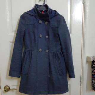 Pre-loved H&M Blue Winter Coat with hood