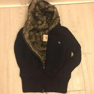 [Sale] A&F Navy Blue Fax Fur Hoodie
