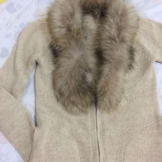 MK米色金蔥皮草毛衣