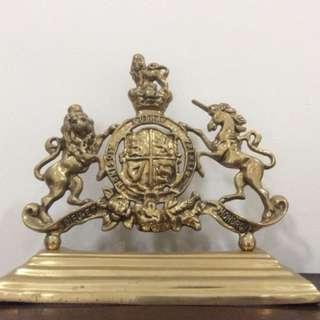 古銅製 中古世紀家徽 擺飾或書架