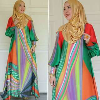 Dress silk orange