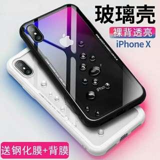透明iPhonex玻璃手机壳硅胶软边