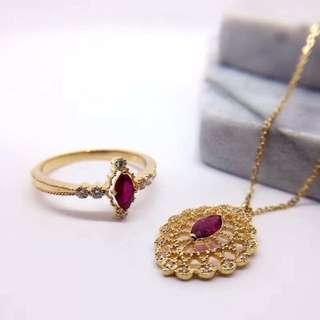 18k金鑲紅寶石馬眼+鑽石套裝  復古 18k gold Ruby and diamond ring & pendent