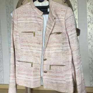 Zara Basic Patterned Soft Pink Blazer