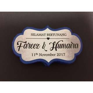 Customized Wedding Hantaran Labels / Tags For Gift Trays