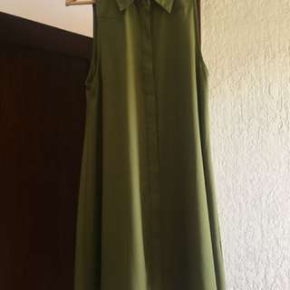 Olive green button up swing dress