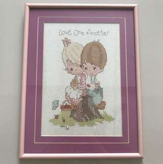Precious moment Cross Stitch with frame