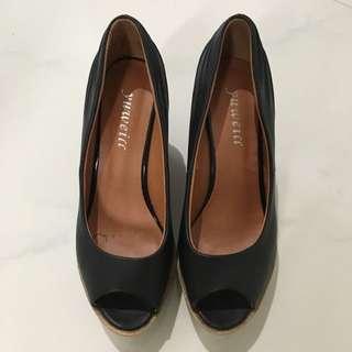 YUWEILL Black Wedge Shoes