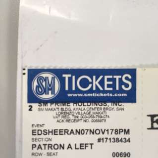 Ed Sheeran Patron A tickets