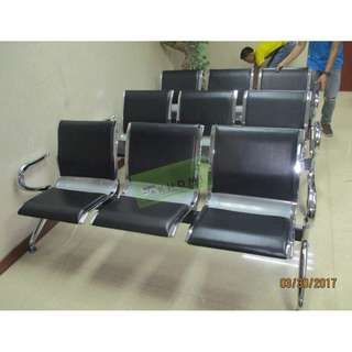 3 Seater Gang Chairs With Cushion black Leatherette :) KHOMI
