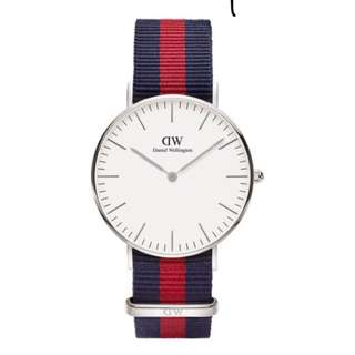 DW Blue Red stripe Silver face white