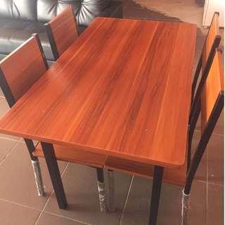 Brand New Leichardt Dining Set - 4 Seats, Wooden Table - Beech/Black