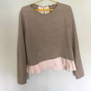 Zara Long Sleeve Top with Bow — size L