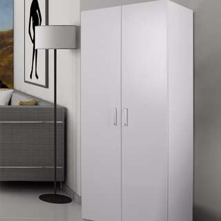 rand New 2 Door Hanging Wardrobe & 5 Drawer Tallboy Cabinet - ( Black/White) package