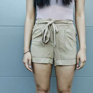 Camel shorts flowy front tie