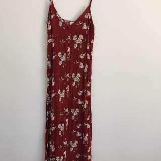 Don't Ask Amanda red floral maxi dress