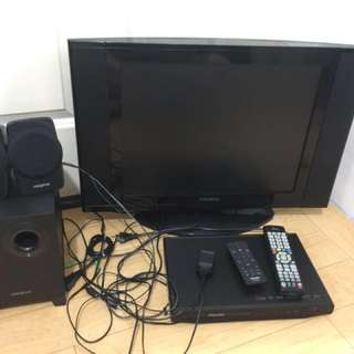 Tv and speaker bargain set for sale READ