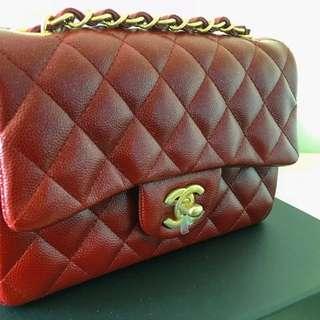 Chanel mini rectangle flap bag - burgundy colour!