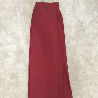 Long Burnt Orang Slit Skirt