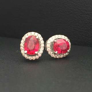 Untreated 2 carat burma red spinel with diamond halo and 9k gold earrings