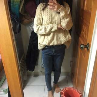 米白麻花針織長版毛衣