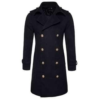 8463  Double-breasted Long Woolen Coat Jacket