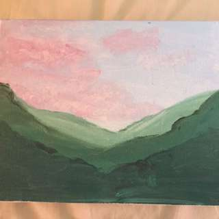 Mountain range and pink clouds