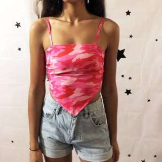 Ebony N Ivory Pink Camo Crop Top