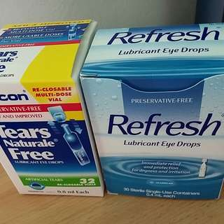 Refresh and Alcon Tears