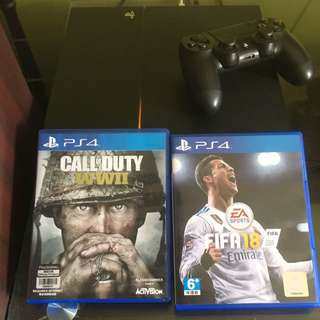 Ps4 with FIFA18 and CoD WWII