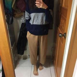米駝色厚針織寬褲