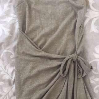 Olive tie wrap dress