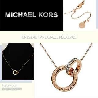 Michael Kors Interlocking Circle Pendant Necklace 熱賣專櫃長期斷貨款雙環緊扣吊墜項鍊3色入