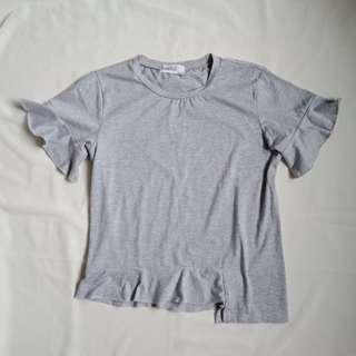 Grey Ruffled Top