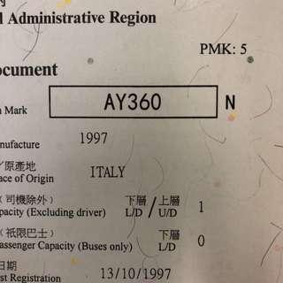 車牌號碼-AY360