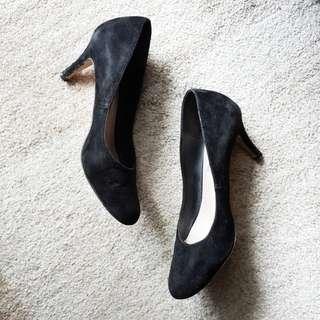 Round-Tipped Black Suede Heels (2 in.)