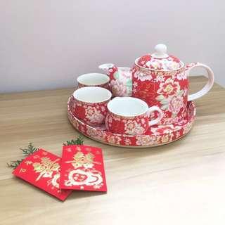 敬茶紅色茶壺套裝 婚後物資