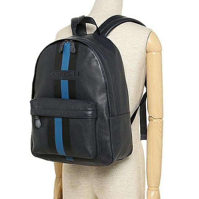 86f19264cd74 BNWT  Coach Charles Backpack In Varsity Leather (Color  Midnight ...