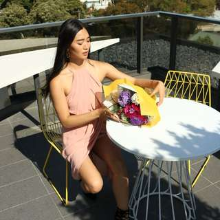 Baby pink blush halter neck graduation ball formal maxi dress