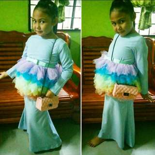 Blue Kurung Tutu For Girl