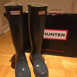 HUNTER Boots Size 35-36 BNWT Gloss Dark Gray