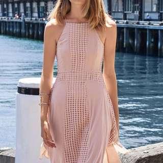 Christabelle Crochet Dress in Nude