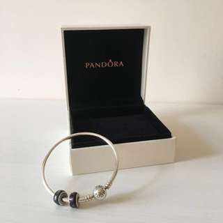 【聖誕禮物之選 90% new】Pandora Bangle + Charms x 2 (有盒 / with box)