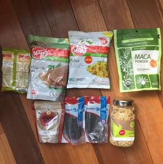 Different organic food, Indian spices, chia seeds