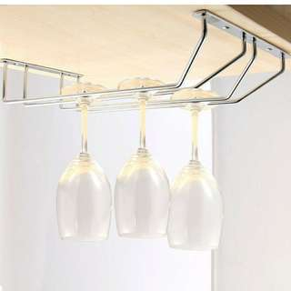 Grandmise 2Rows Stainless Steel Wine Glass Rack Hanger Holder Stemware Shelf Bar Storage