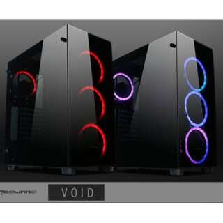 Tecware VOID-RGB Compact ATX, PSU Cover, 4x RGB Fans, Front and Side Tempered Glass